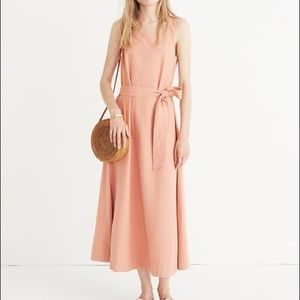 Madewell Apron Tie-Waist Dress Coral